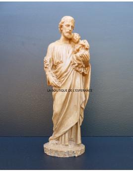 Statue de saint Joseph avec l'Enfant-Jésus, en résine ton bois, 24 cm